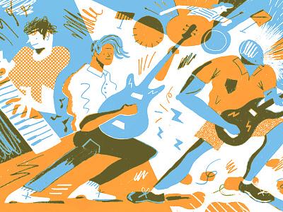 Jammin' Out fun color band music screenprint illustration