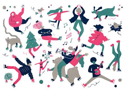 Holiday Card 2017 cartoon doodle holiday color fun illustration