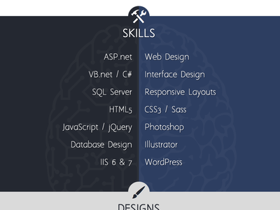 One Page Resume Site - Skills Section one-page web design skills portfolio resume website