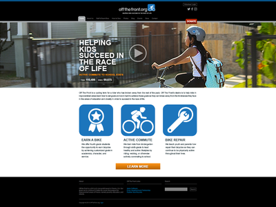 Off The Front Redesign website web design gray white black blue video hero non-profit redesign