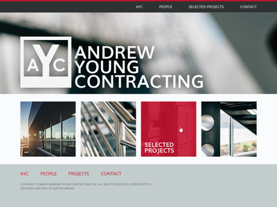 Andrew Young Contracting web design white gray red clean simple hero construction contractor website
