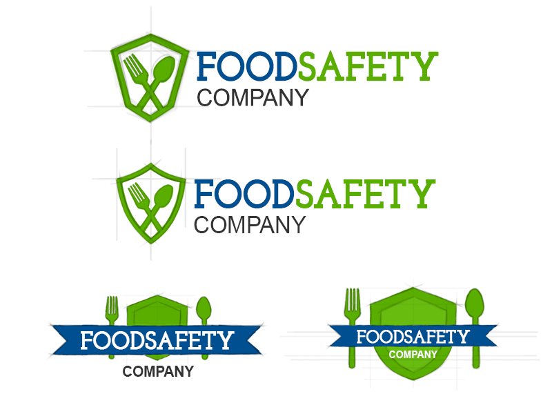 Food Safety Logo Sketches shield spoon fork blue green sketch wip branding logo certification safety food