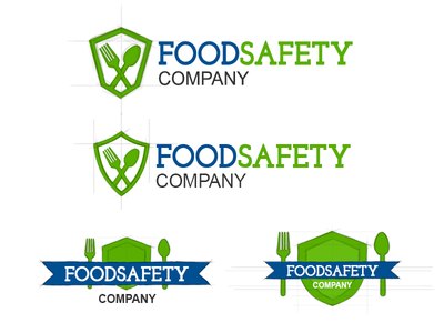 Food Safety Logo Sketches shield spoon fork blue green sketch wip branding logo certification safety food