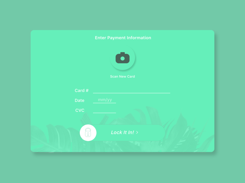 Daily UI Challenge Day 2 / Payment Info / Credit Card Info dailyui monstera plants info credit card creditcard payment