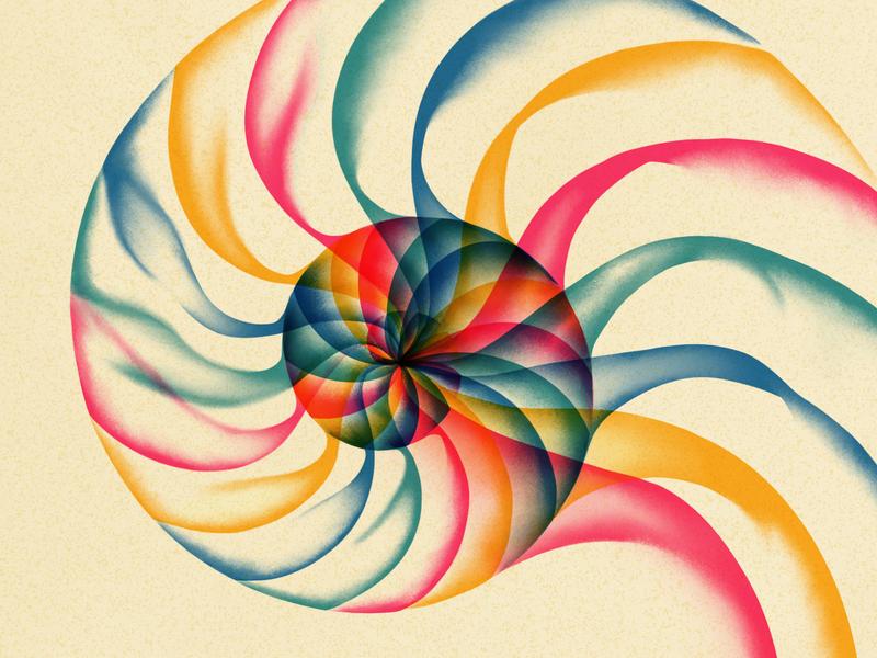 Spiral risograph mollusk shells minimal print layered smudge drawing 4-color illustration artwork music ipad pro art ipad pro procreate texture grain shell nautilus spiral