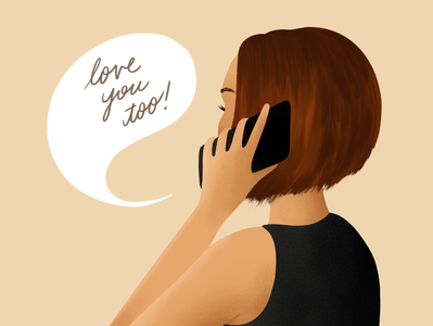 Love You Too drawing character procreateapp hair profile arm hand digital illustration love you checking in in touch phone call phone self-portrait procreate illustration drawfromadistance