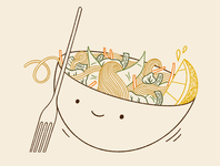Pancit Bihon pinoy line drawing culinary character texture illustrative noodles bowl fork procreate drawing illustration food art food filipino food filipino pancit bihon pancit