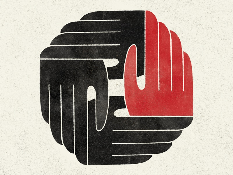 Connection connected hand-drawn black red minimal ipad pro art ipad pro grain drawing touch hand illustrative communicate connect reach illustration procreate texture hands