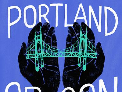 PDX illustration oregon st. johns bridge procreate hands drawing portland