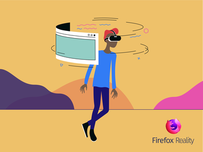 Firefox Reality V2 ar character browser firefox mozilla mixed reality vr design vector illustration