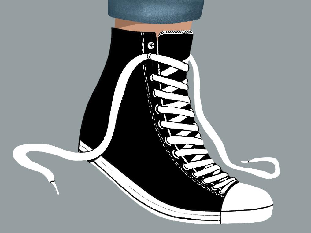 Undone sneakers sneaker high tops converse foot ipad pro drawing ipad procreate illustration illustrative laces shoe