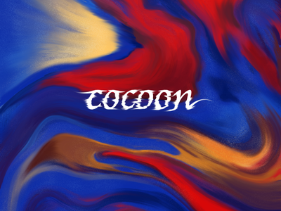 Cocoon typography warped type smudge twirl warp type clay marble marbled design texture illustrative procreate illustration