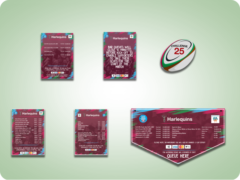 Harlequins FC - Menu Boards graphic design advertising design marketing banner menu design print branding