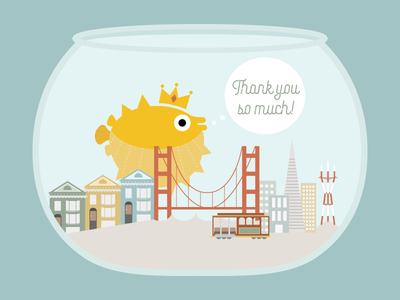 A Royal Thank You fish bowl san francisco whimsical pufferfish illustration graphic design education nonprofit 826valencia