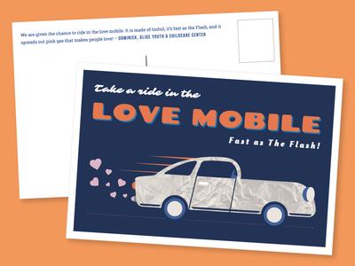 Love Mobile Postcard car love vintage postcard whimsical illustration graphic design education nonprofit 826valencia