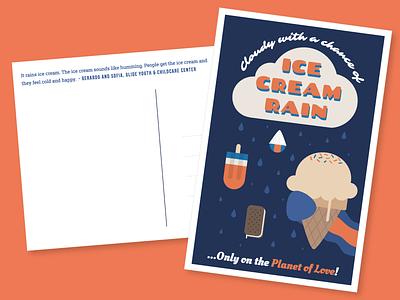 Ice Cream Rain Postcard rain ice cream love vintage postcard whimsical illustration graphic design education nonprofit 826valencia