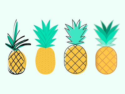 Pineapple Sketches fruits pineapple flat design illustration
