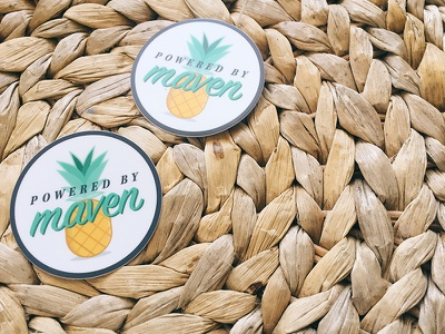 Powered By Maven Stickers flat design illustration stickers summer pineapple