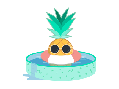 Pineapple in the Pool sunglasses lifesaver kiddie pool flat design illustration summer pineapple
