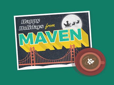 Happy Holidays from Maven holiday card hot cocoa illustration san francisco christmas holiday postcard