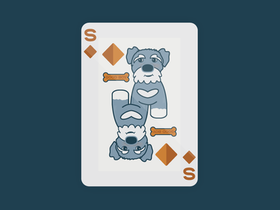 Schnauzer of Diamonds illustration bone schnauzer dog diamonds playing cards playing card