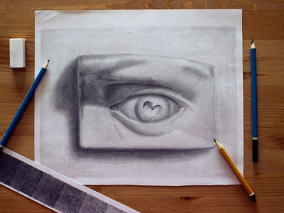 Pencil drawing eye face gypsum shadows picture art pencil