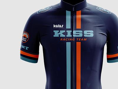Cycling Kit Design - KISS Racing Team racing orange blue branding cycling athletics sportswear team jersey mockup zwift bib jersey cycling kit