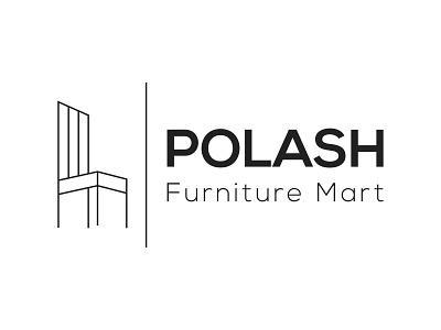 Polash Furniture Mart Logo line art logo lineart wooden mordern logo furniture branding logo illustration