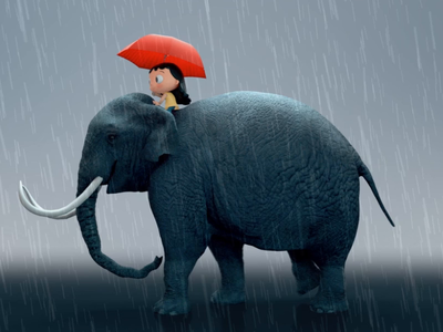 Perla and the elephant character design weird motiondesign houdini 3d animation 3danimation 3d motiongraphics maya cinema4d