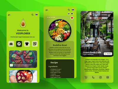 Vegan Buisness Explorer App Design buisness news green logo avacado vegan logo veganism lifestyle vegan food recipe explorer vegetarian vegan design
