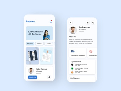 Digital Cv platform Concept cv resume mobile app ui design minimal ux ui interface