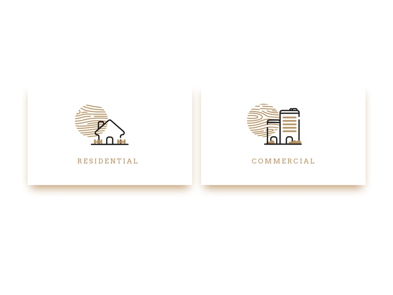 residential vs. commercial icons illustration iconography buttons ui vector button cta button line linework commercial residential buildings icons