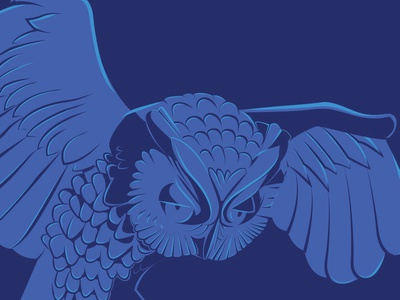 Owl Statue wings fly horned owl blue vector illustration hoot hoot statue owl