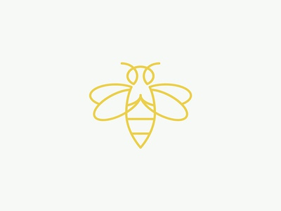 Buzz fly wings insect bug yellow gold minimal line bumble bee buzz icon logo bee