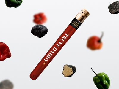 Truff Daddy black truffle tube test tube logo branding packaging spicy daddy truff peppers hot sauce truffle