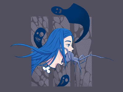 sleep paralysis illustration anime sketch blue skull black widow billie eilish sleep paralysis nightmare dream ghost spider
