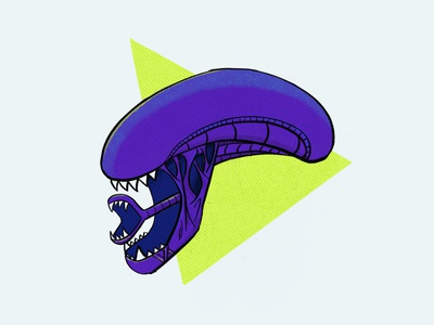 xenomorph halftone procreate illustration sketch head xenomorph aliens alien