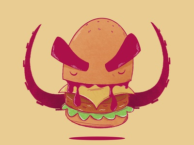Burger Monster doodle sauce cheeseburger texture brows tentacle octopus kaiju illustration monster burger hamburger