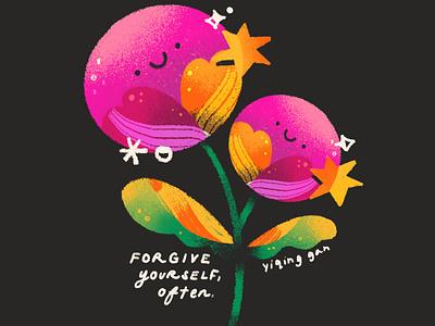 Forgive yourself, often procreate floral flowers self love affirmation illustration ladieswhoart forgive
