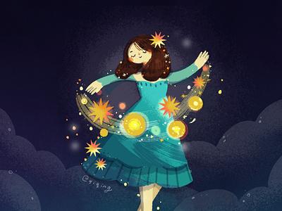 Let my light shine fairytale fairy night galaxy stars empowering girl girl illustration sparkle magical ladieswhoart illustration