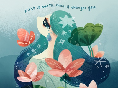 First it hurts, then it changes you cry grain procreate girl illustration depression rain blue lotus ladieswhoart grief grieve