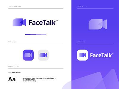 FaceTalk Logo Branding app icon app logo brand identity minimalist logo minimal modern logo logo logo design branding brand identity design datingapp icon video camera