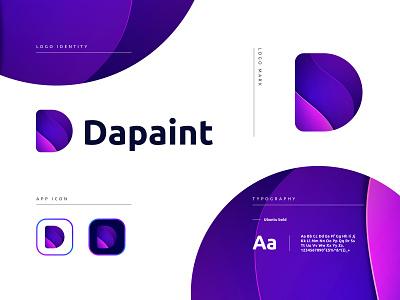 Dapaint Logo Branding app logo brand identity icon branding brand identity design d letter logo d logo design lettermark minimalist minimalist logo modern logo logo design logo app icon logo app icon