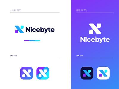 Nicebyte - logo Branding minimal app icon graphic design brand identity branding brand identity design app logo modern logo logo design logos logo n logo n