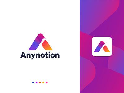 Anynotion - logo Branding logotype brand identity app icon logo logo logo design branding app logo brand identity design minimalist logo minimalist modern logo a modern logo a mark a