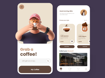 Coffee App mobile uiux minimal uidesign best dribbble shot mobile app design trendy popular coffee bean website ecommerce application coffee app coffeeshop food app android app mobile ui ux mockup product webpage