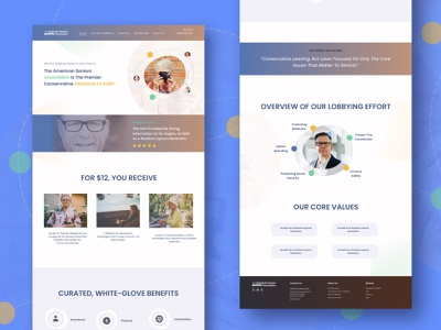 "landing page ""American Seniors"" illustration ui desktop e-commerce old people american icons seniours uiux landing page design"