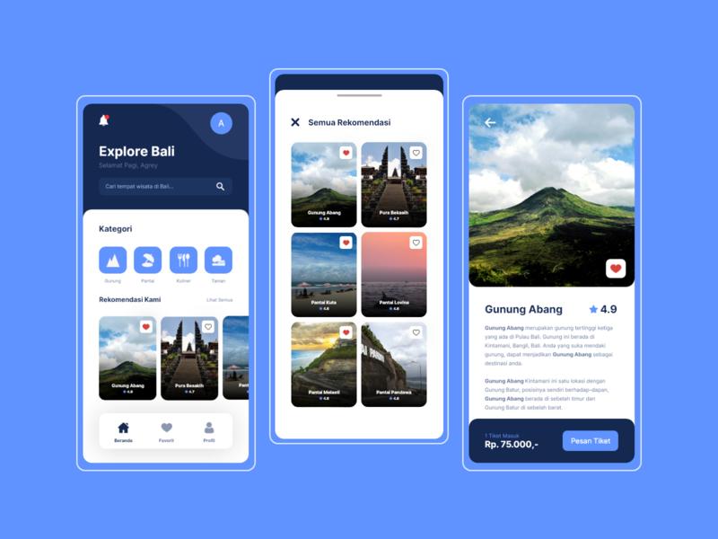 Explore Bali - Mobile App Design mobile apps uidesign explore tour mobile application ui design mobile app design mobile app