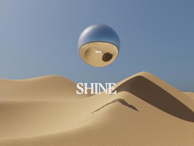 Shine dune sand metal illustration sun sky clean minimal type blender render 3d sphere desert