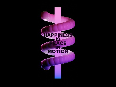 Happiness is peace in motion peace happiness pink purple 3d art 3d blender